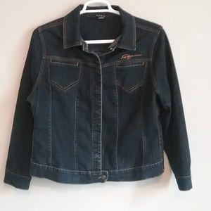 FUBU Snap Front Stretch Denim Jacket